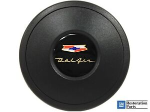 Volante S9 Black Horn Button Chevy Bel Air Emblem