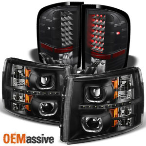 Fit 07 13 Silverado Led Halo Black Projector Headlights Led Tail Lights