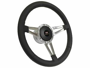 1955 1957 Chevy 150 S9 Sport Leather Steering Wheel Slotted 3 Spoke