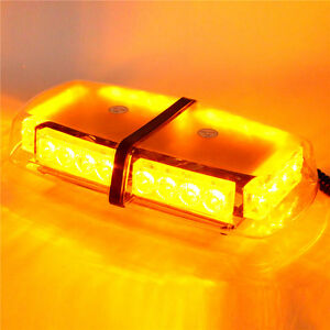 24 Led Enforcement Emergency Hazard Warning Mini Strobe Light Bar Amber Yellow