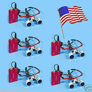 5 Sets Usa Dental Surgica Loupes Glasses 3 5x Led Head Light Lamp Red Super