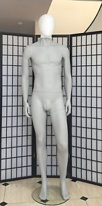 Fiberglass Grey Matt Male Mannequin Abstract Egghead Full Body Clothes Display