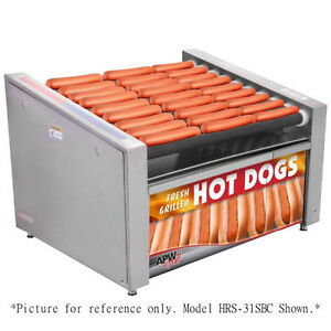 Apw Wyott Hrs 50sbc X pert Slanted Non stick Hot Dog Roller Grill W Bun Cabinet