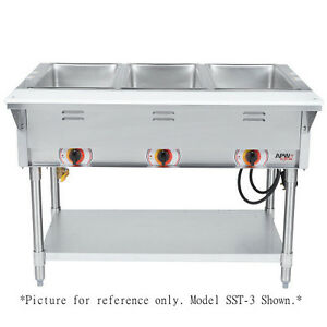 Apw Wyott Sst 3s Electric Stationary Sealed Champion Hot Well Steam Table
