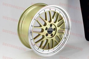 5x100 Set Of Four 18 Lm Style Gold Face Rims Wheels Fits Vw Golf Mk4 Gti