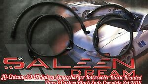 Chicane 99 04 Saleen S281 Supercharged Mustang Blk Braided Intercooler Hose Set