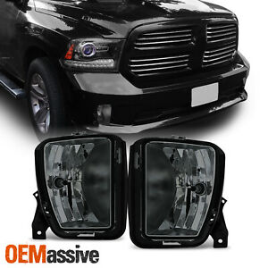 Fits 13 18 Dodge Ram 1500 Pickup Truck Smoked Bumper Fog Light Lamps With Bulbs