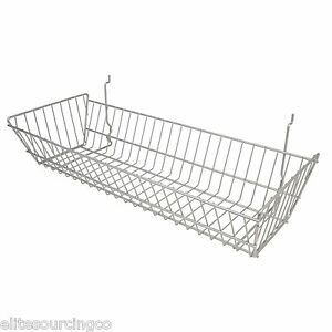 6 Wire Baskets 24 l X 10 d X 5 h Chrome For Slatwall Grid Or Pegboard