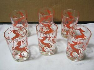 Art Deco Style Small Juice Vintage Glasses Set Of 6