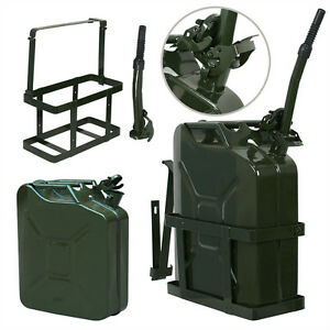 2pack Jerry Can 5 Gallon 20l Fuel Army Backup Military Metal Steel Tank Holder