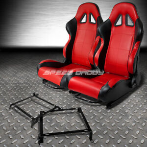 2 X Red black Pvc Leather Racing Seats bracket For 88 91 Honda Crx Dx si Ee Ef
