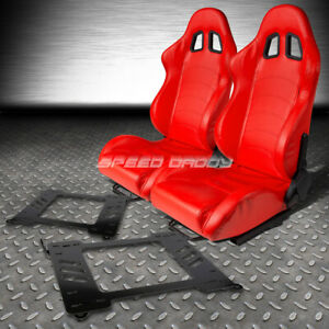 Red Pvc Leather Reclinable Racing Seats Bracket For 99 05 Bmw E46 3 Series M3