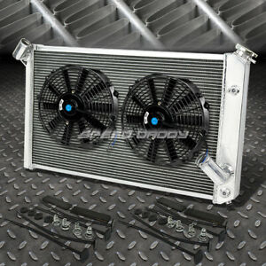 3 Row Aluminum Radiator 2x 12 Fan Kit Black For 73 76 Chevy Corvette V8 5 7 7 4