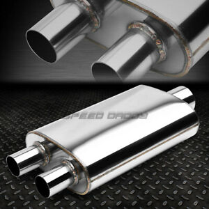 3 in 2 dual Offset Out Fully Polished Stainless Steel High flow Muffler Exhaust