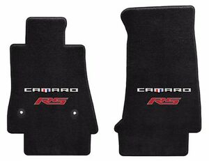 New Black Carpet Floor Mats 2016 2019 Camaro Embroidered Rs Double Logo Red Pr