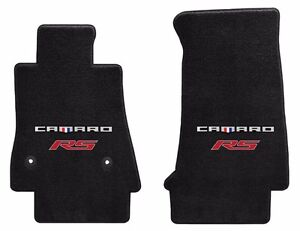 New Black Carpet Floor Mats 2016 2021 Camaro Embroidered Rs Double Logo Red Pr