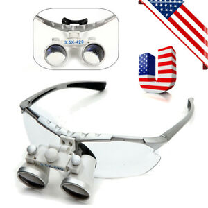 Dental Surgical Medical Binocular Loupes 3 5x 420mm Optical Glass Lens Magnifier