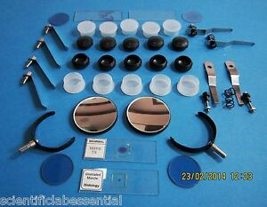 Microscope Stage Clips Concave Mirror Blue Filter Reflector Arc Objective Caps