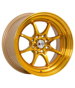 4x F1r F03 15x8 25 4x100 114 3 Machined Gold Wheels