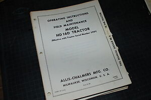 Allis Chalmers Hd16d Tractor Crawler Dozer Owner Operator Operation Manual Book