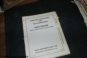 Allis Chalmers Hd11b Tractor Crawler Dozer Owner Operator Operation Manual Book
