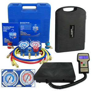 R134a Hvac Manifold Gauge Air Condition A c And Digital Refrigerant Scale Set