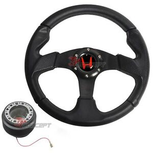 For 93 97 Honda Del Sol Jdm 320mm 6 bolt Black Pvc Steering Wheel