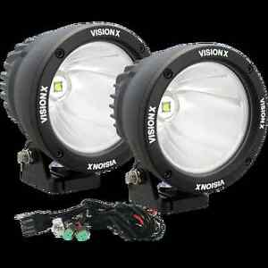 Set Of 2 Vision X 4 5 25 Watt Driving Led Light Cannons W Dual Wiring Harness