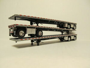3 Dcp 1 64 Scale Wilson Road Brute Flatbed Trailers Silver Deck Black Frame