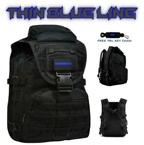 Law Enforcement Thin Blue Line Tactical Backpack On off Duty Bag free Key Chain