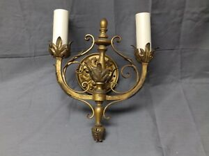 Vtg Gold Wrought Iron Tin Tole Leafy Double Arm Sconce Light Fixture Old 23 17e