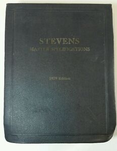 Vintage Stevens Master Specifications Architect Reference Book 1929