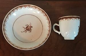 Antique Chinese Export Porcelain Tea Cup Saucer Bowl 18th 19th C Coffee Can