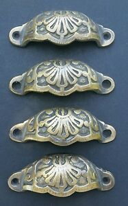 4 Apothecary Drawer Cup Pulls Handles Ant Victorian Style Solid Brass 3 C A2