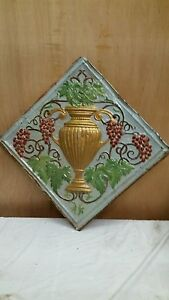 24 X 24 Antique Ceiling Embossed Tin Tile With Grapes And Urn Rare 4