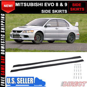 For 01 07 Mitsubishi Evo 8 9 Side Skirts Extensions Splitters Pp