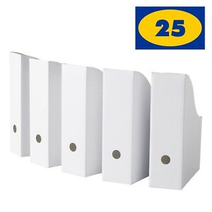 Ikea Flyt White Magazine File Holders Pack Of 25 Corrugated Paper Organizer