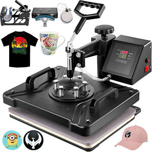 5in1 Heat Press Transfer Sublimation Clamshell T shirt Cap Printing Professional