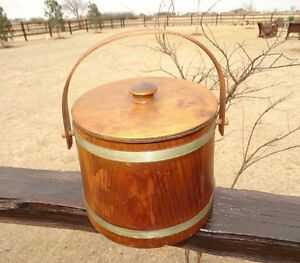 173408 Vintage Wooden Firkin Sugar Bucket Folk Art W Lid Primitive