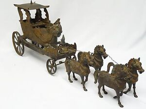 Antique 18c Indian Bronze Arjuna Krishna Ganesh Cirebon Chariot Pulled By Horses