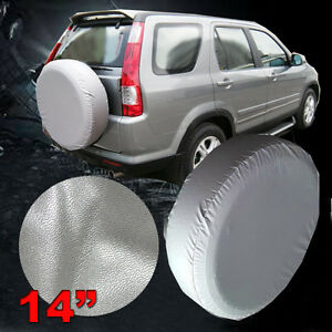 14 Silver Leather Spare Tire Cover Weather Protector 25 27 7 For Rav4 Crv Suv