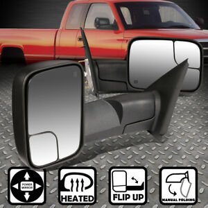For 02 08 Dodge Ram 1500 3500 Power heated Foldable Rear View Towing Mirror Pair
