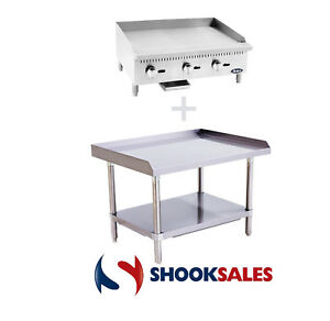 New 24 Atosa Commercial N G Griddle Atmg 24 Atse 2824 Ss Stand Free Lift Gate