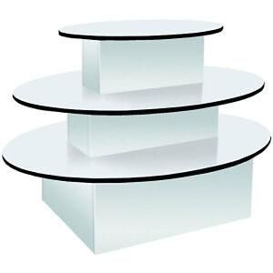 Oval 3 tier Display Table Clothing Gift White Knockdown Made In The Usa New