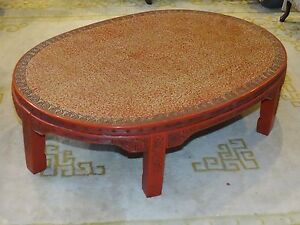 Antique Late 19 C Chinese Lacquer Intricate Carved Cinnabar Coffee Table