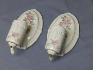 Vtg Pair Ceramic Ivory Porcelain Sconce Pink Rose Floral Light Fixtures 89 17e