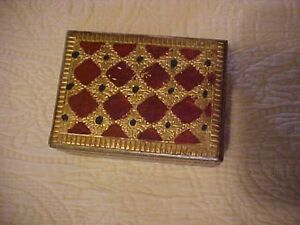 Decorative Box Florentia Made In Italy Gold And Red Diamonds