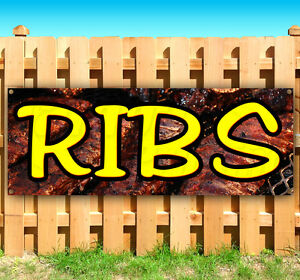 Ribs Bbq Advertising Vinyl Banner Flag Sign Many Sizes Available