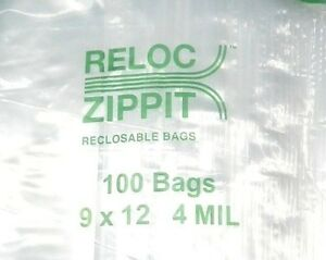 500 Ziplock 9 X 12 Heavy Duty 4mil 9 X 12 Bags Large Thick Clear Reloc Zippit
