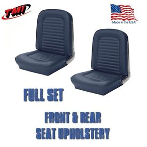 1964 1965 Mustang Front And Rear Seat Upholstery Blue Vinyl By Tmi In Stock
